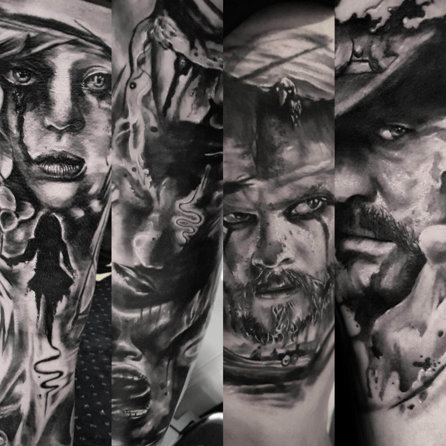 Black and grey portrait work